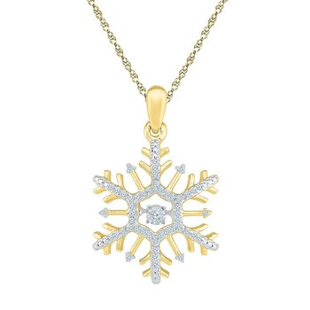 10kt Yellow Gold Womens Round Diamond Snowflake Winter Cluster Pendant 1/6 Cttw