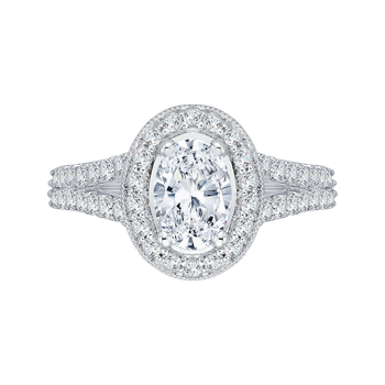 Oval Diamond Halo Engagement Ring In 14K White Gold with Split Shank