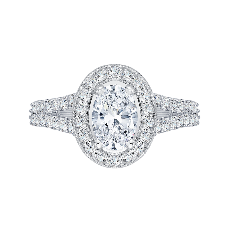 Promezza Oval Diamond Halo Engagement Ring In 14K White Gold with Split Shank