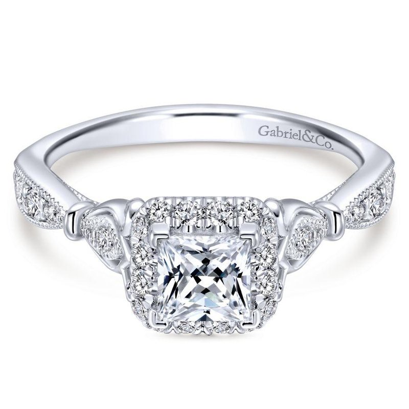 Gabriel  Vintage 14K White Gold Princess Halo Diamond Engagement Ring