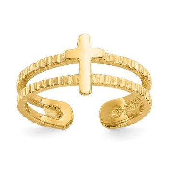 14k Cross Toe Ring
