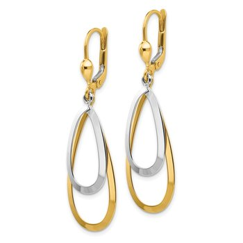 14k Two-tone Oval Leverback Tear Drop Earrings