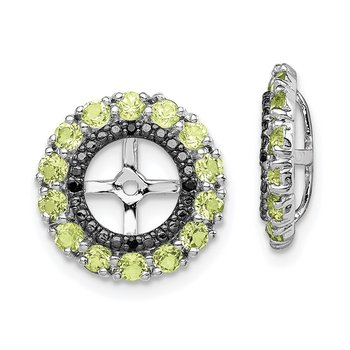 Sterling Silver Rhodium Peridot & Black Sapphire Earring Jacket