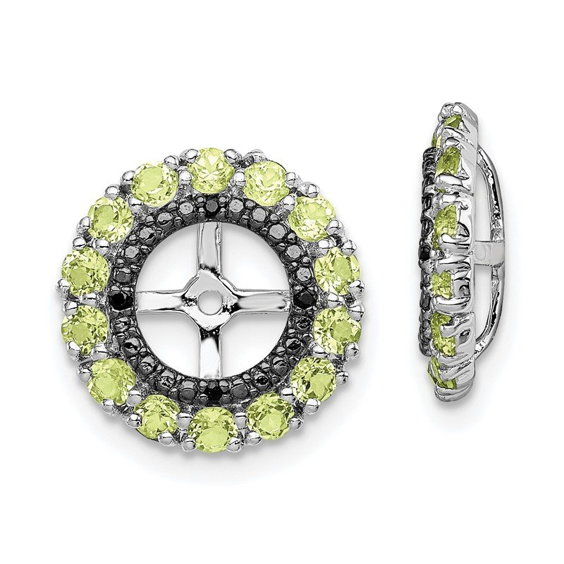 Arizona Diamond Center Collection Sterling Silver Rhodium Peridot & Black Sapphire Earring Jacket