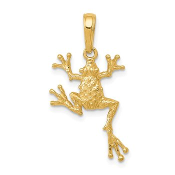 14k Solid Polished Open-Backed Frog Pendant