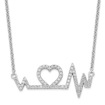 Sterling Silver & CZ Brilliant Embers Heart w/2in ext. Necklace