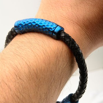 Black Leather with Blue Plated Hammered Beads Bracelet