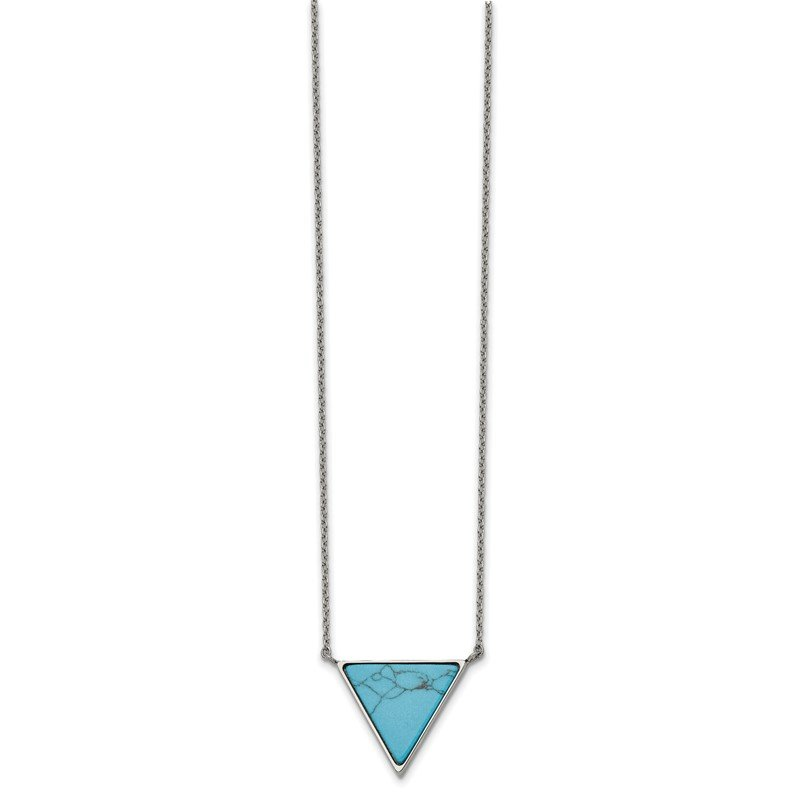 Chisel Stainless Steel Polished w/Reconstructed Howlite Triangle w/2in ext. Neckla