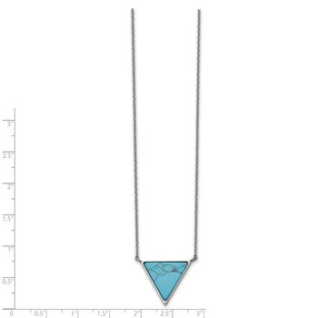 Stainless Steel Polished w/Reconstructed Howlite Triangle w/2in ext. Neckla