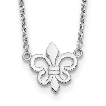 Sterling Silver Rhodium-plated Fleur de Lis w/1in ext Necklace