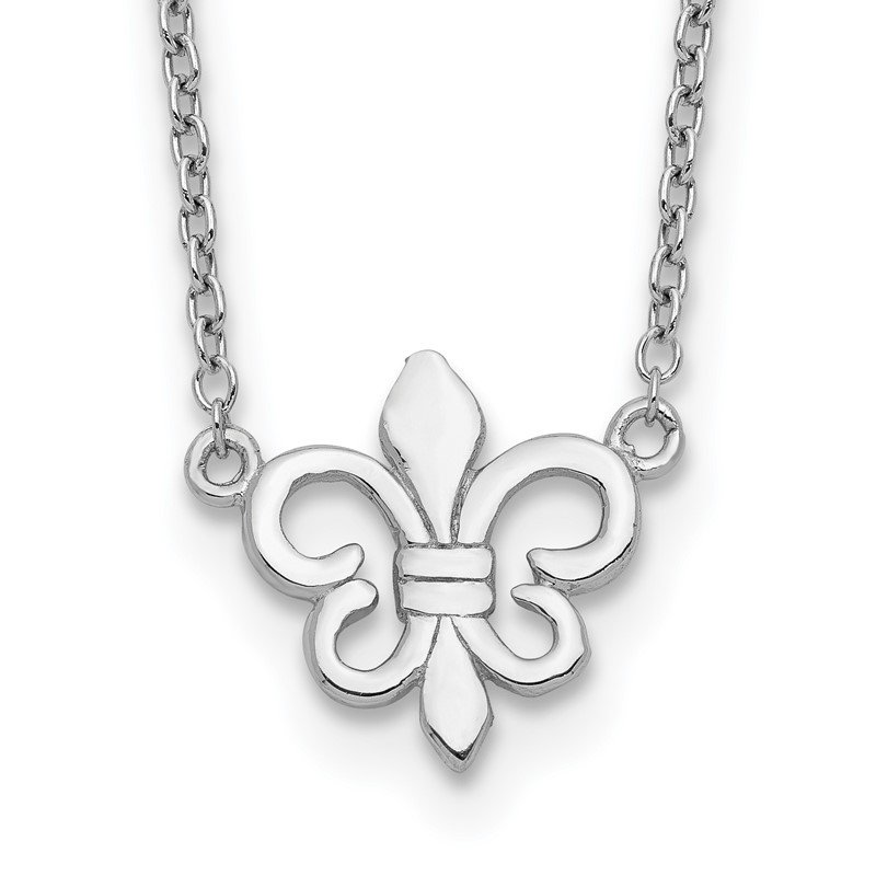 Quality Gold Sterling Silver Rhodium-plated Fleur de Lis w/1in ext Necklace