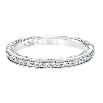 Engraved Diamond Wedding Band