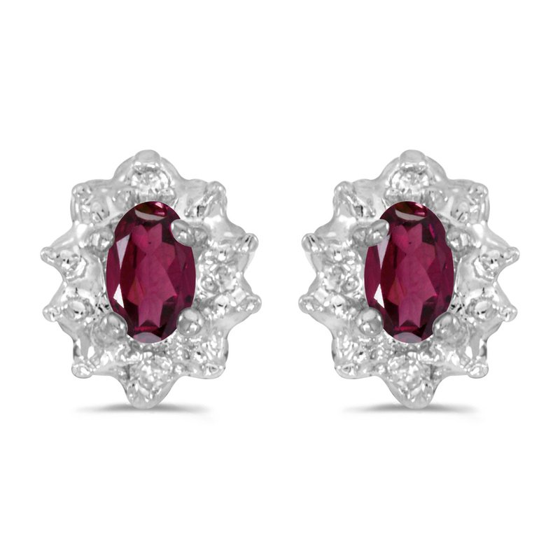 Color Merchants 10k White Gold 5x3 mm Genuine Rhodolite Garnet And Diamond Earrings