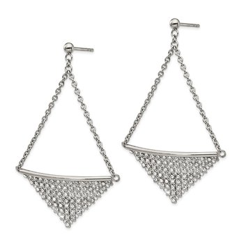 Stainless Steel Polished w/Preciosa Crystal Post Dangle Earrings