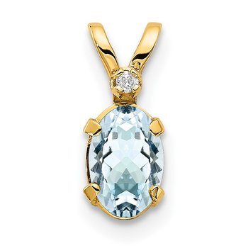 14k Diamond & Aquamarine Birthstone Pendant