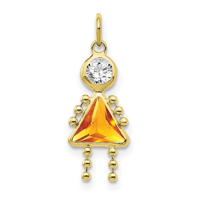 Quality Gold 10k November Girl Birthstone Charm