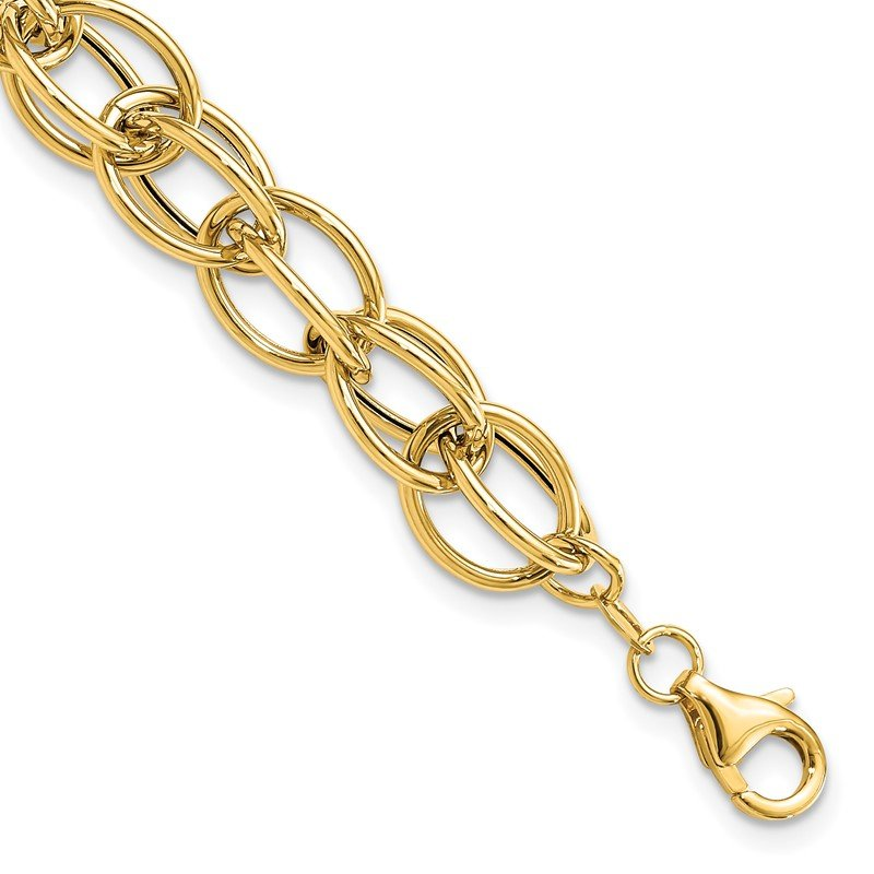 JC Sipe Essentials 14k Gold Polished Textured Fancy Link Bracelet