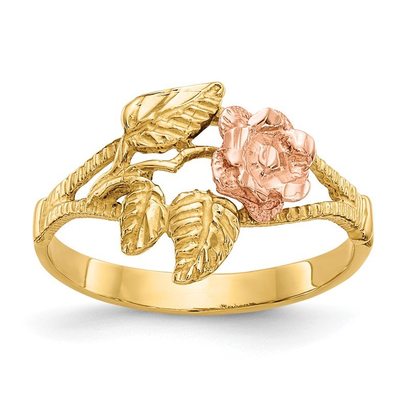 Quality Gold 14k Two-tone Diamond-Cut Rose Ring