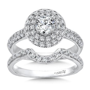 Double Round Halo Engagement Ring in 14K White Gold (1/2ct. tw.)