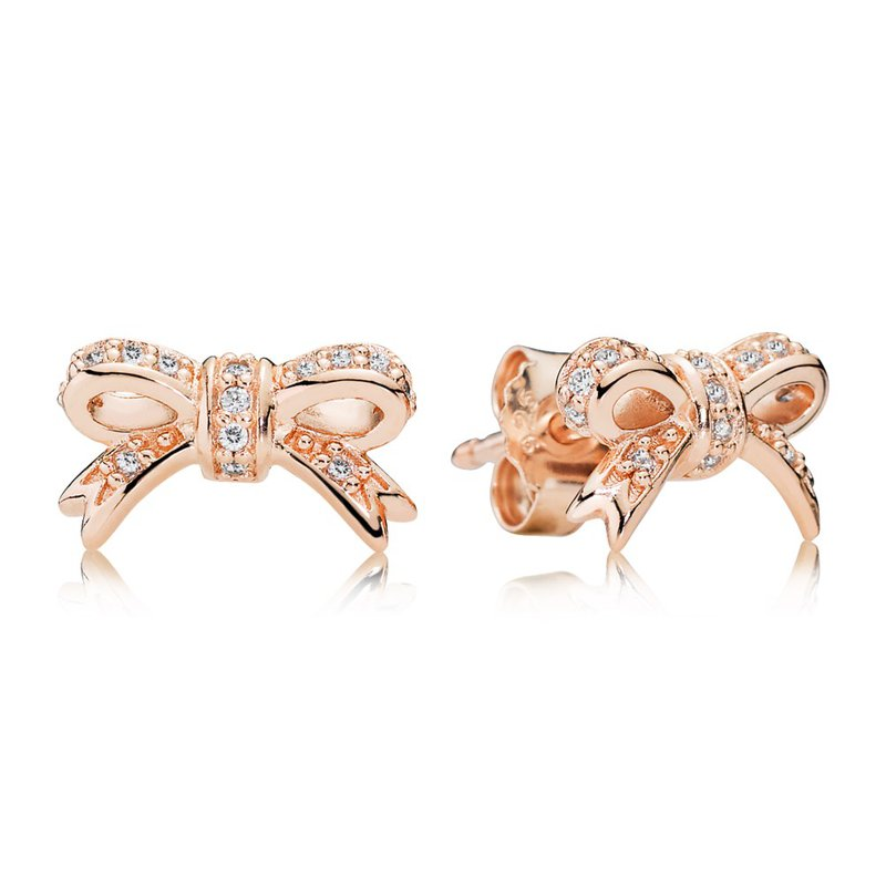 Pandora Sparkling Bow Stud Earrings Rose Cz