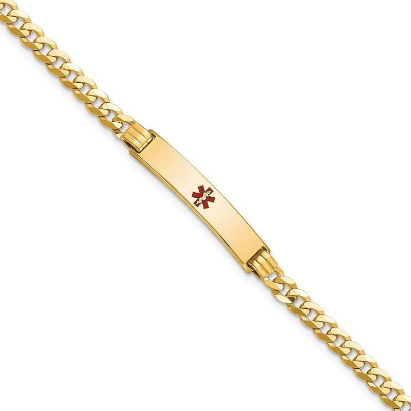 Fine Jewelry by JBD 14K Medical Red Enamel Curb Link ID Bracelet
