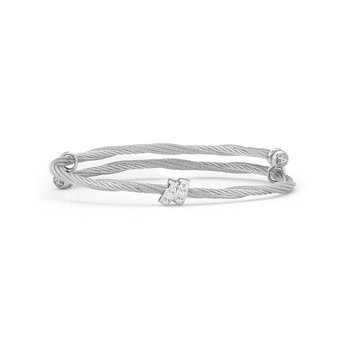 Grey Cable Flex Size Bracelet with Square Diamond Station set in 18kt White Gold