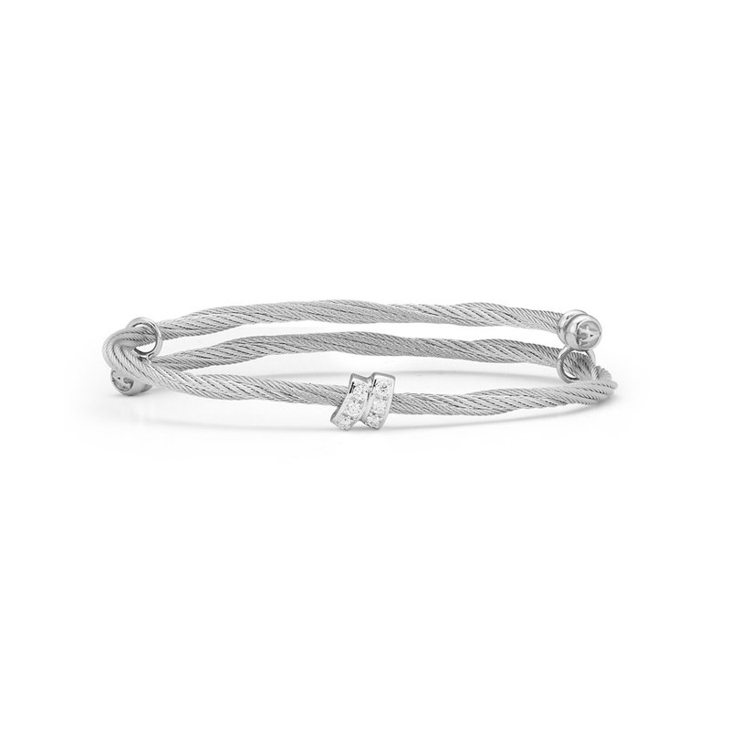 ALOR Grey Cable Flex Size Bracelet with Square Diamond Station set in 18kt White Gold
