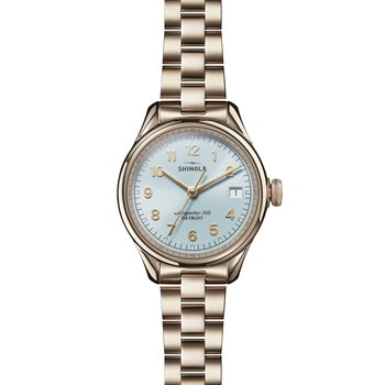 The Vinton 32mm Chambray Blue Dial Champagne Gold Bracelet Watch