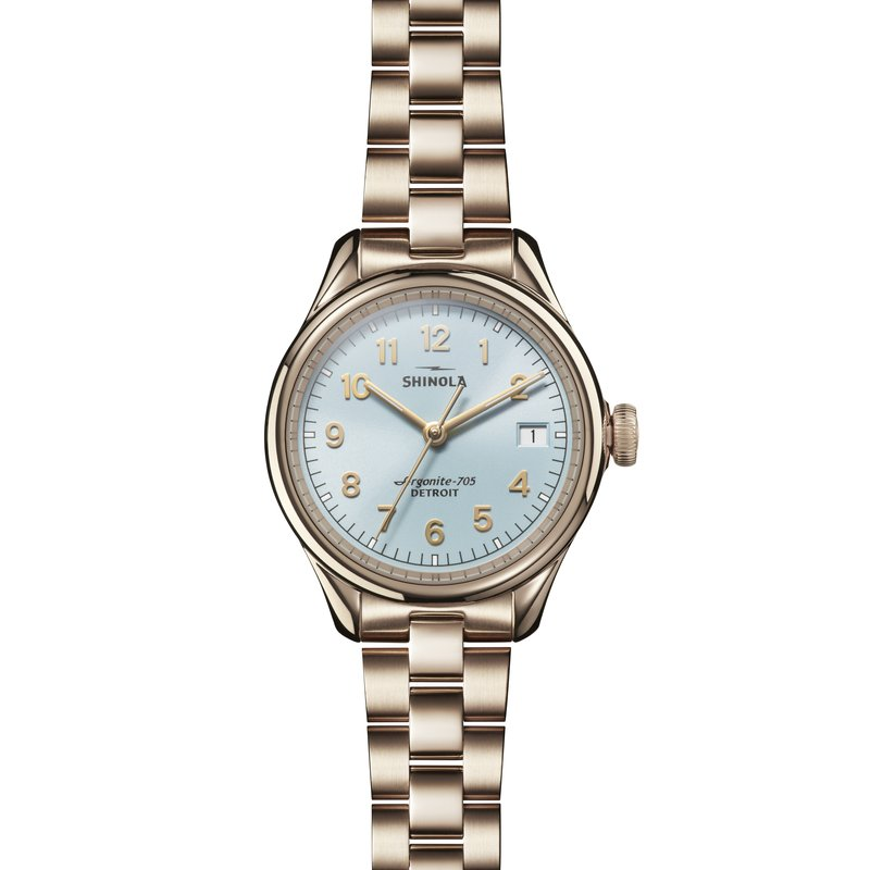 Shinola The Vinton 32mm Chambray Blue Dial Champagne Gold Bracelet Watch