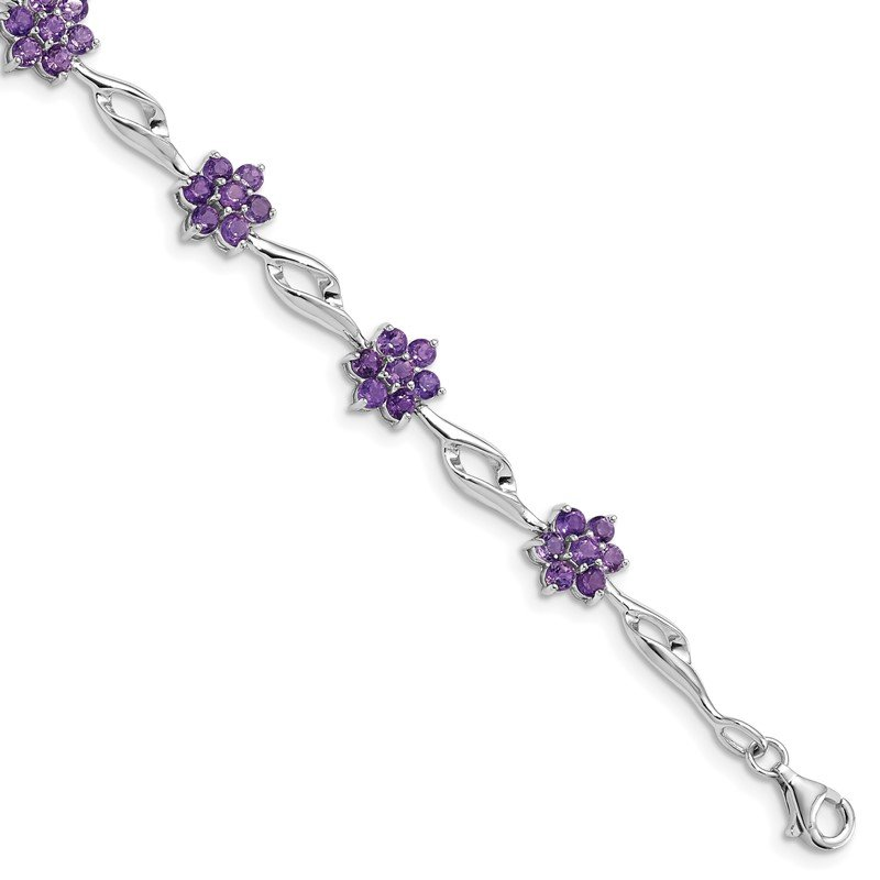 Quality Gold Sterling Silver Rhodium-plated Amethyst Bracelet