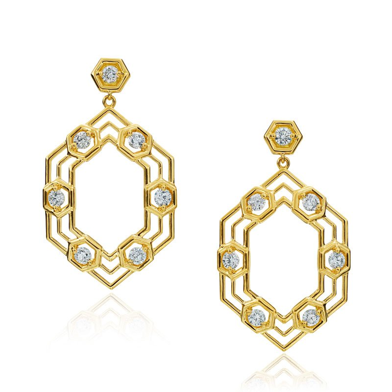 "Gumuchian Honeybee ""B"" Stretched Honeycomb Drop Earrings E833G"