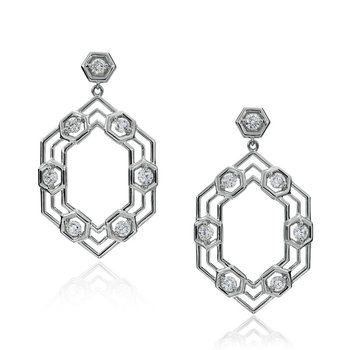 "Honeybee ""B"" Stretched Honeycomb Drop Earrings E833G"