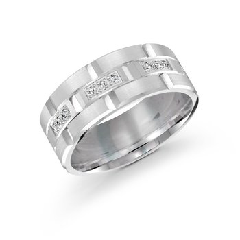 9mm all white gold brick motif band, embelished with 24X0.015CT diamonds