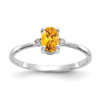 14k White Gold Diamond & Citrine Birthstone Ring
