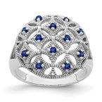 Quality Gold Sterling Silver Rhodium-plated Blue Sapphire Circle Ring
