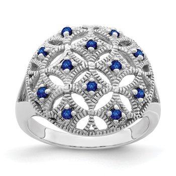 Sterling Silver Rhodium-plated Blue Sapphire Circle Ring