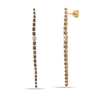 14K long drop Earrings with brown Diamonds 0.86C & white Diamonds 0.12C