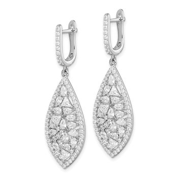 Sterling Silver Rhod-plated Geometric CZ Leverback Dangle Earrings