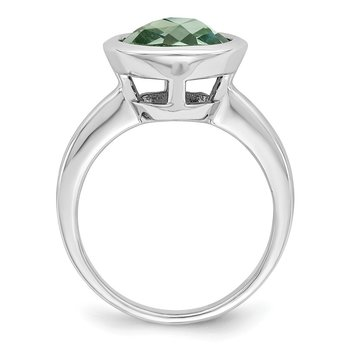 Sterling Silver Rhodium Green Quartz Ring