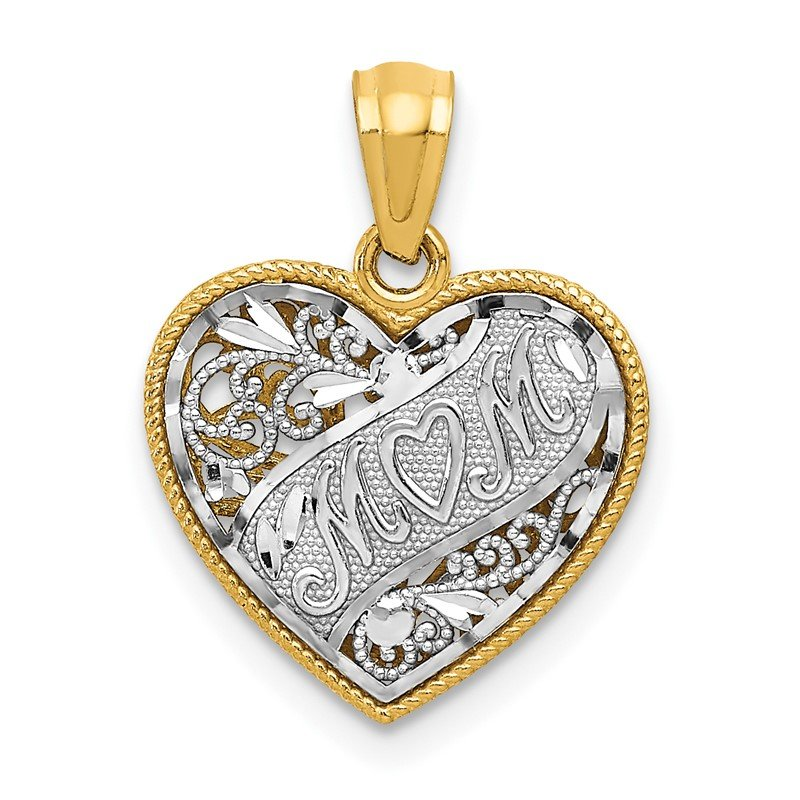 Quality Gold 14k Two-tone Reversible MOM Heart Pendant