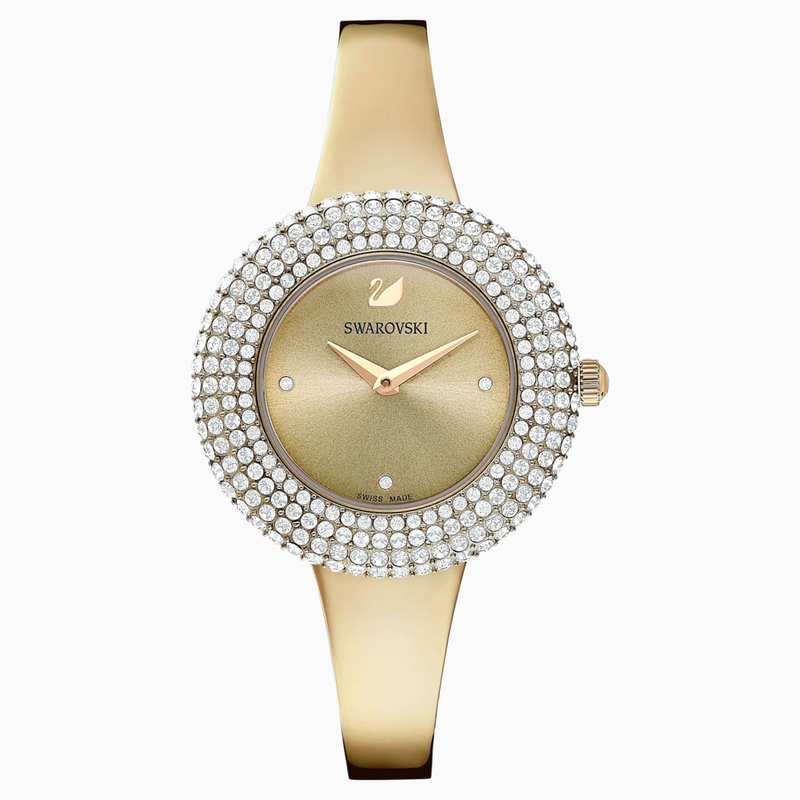 Swarovski Crystal Rose Watch, Metal Bracelet, Golden, Champagne-gold tone PVD