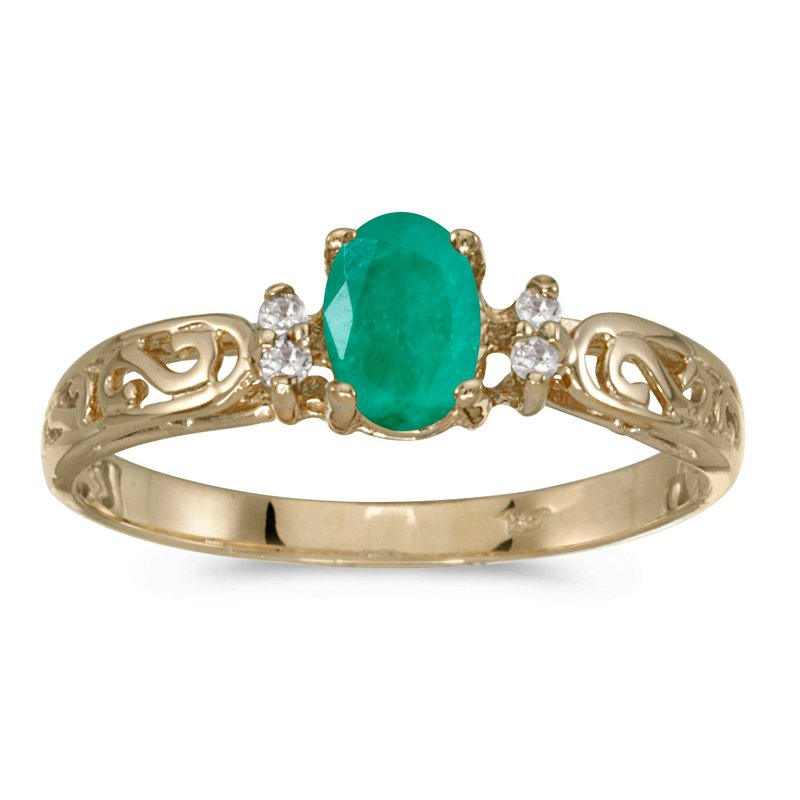 Color Merchants 14k Yellow Gold Oval Emerald And Diamond Filagree Ring