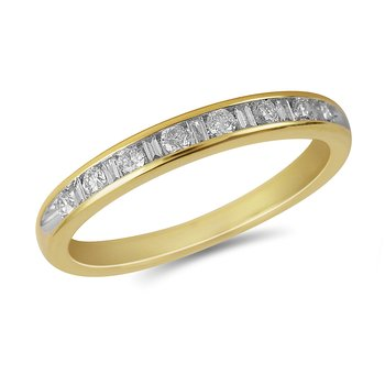 14K YG Diamond Round and Baguette Ring Band