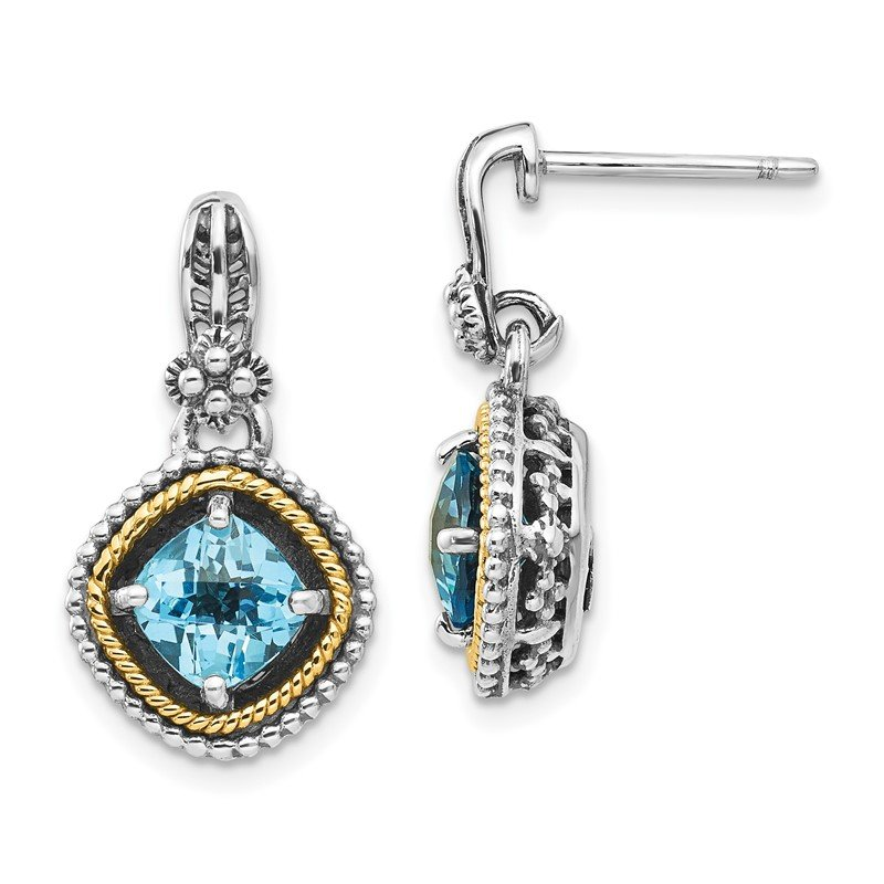 J.F. Kruse Signature Collection Sterling Silver w/14k Swiss Blue Topaz Earrings