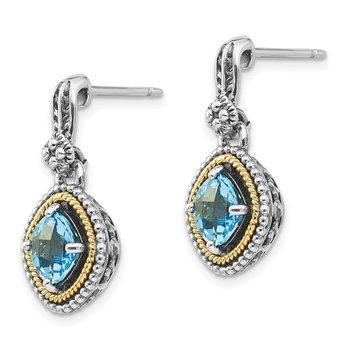 Sterling Silver w/14k Swiss Blue Topaz Earrings