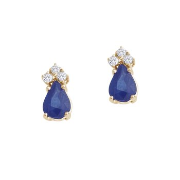14k Yellow Gold Sapphire And Diamond Pear Shaped Earrings