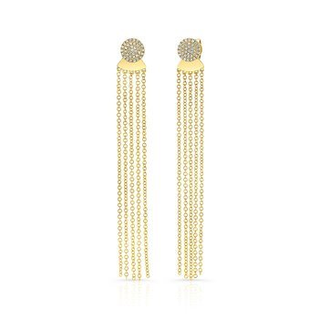 Yellow Gold Disc Earrings With Dangling Tassel Backing