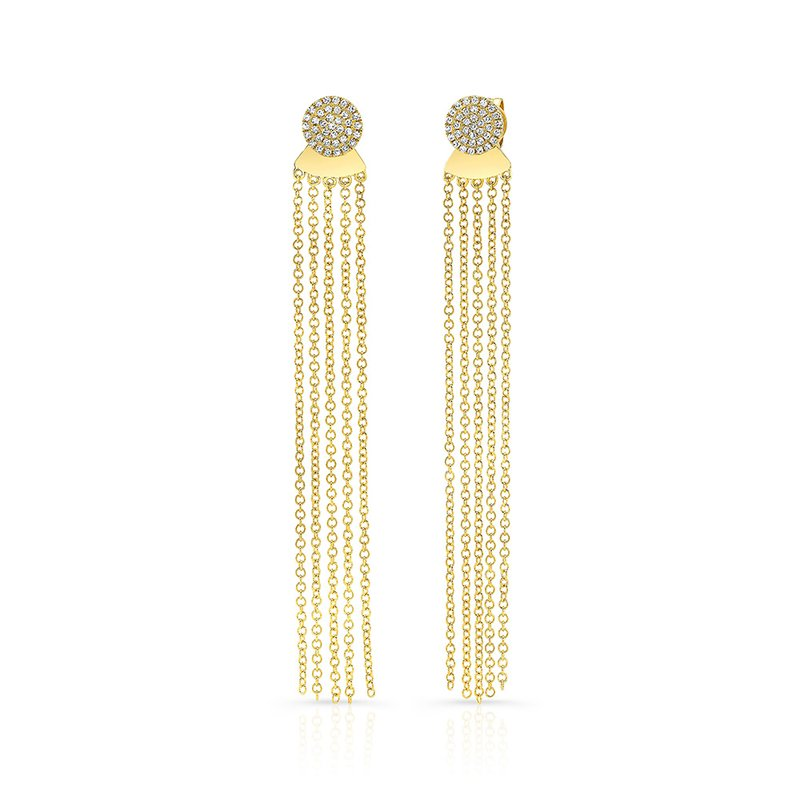 Robert Palma Designs Yellow Gold Disc Earrings With Dangling Tassel Backing