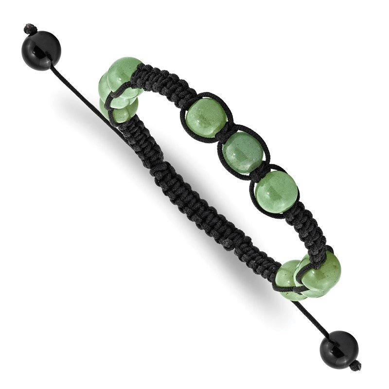 Quality Gold 8mm Green Aventurine and Black Cord Bracelet