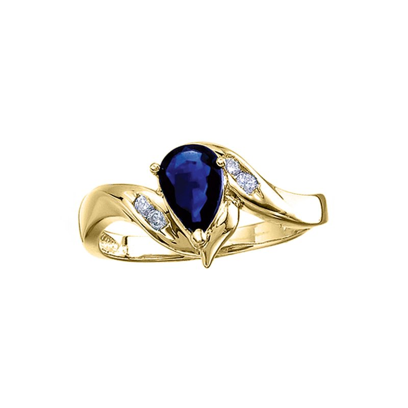 Color Merchants 14k Yellow Gold Pear Sapphire And Diamond Swirl Ring